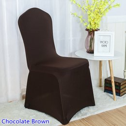 Banquets Chairs Canada - spandex chair cover Chocolate brown colour flat front lycra stretch banquet chair cover for wedding decoration wholesale on sale
