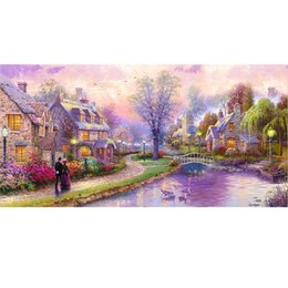 $enCountryForm.capitalKeyWord Australia - Large European Town Views Canvas Painting HandPainted  HD Print Modern Wall Decor Art Oil Painting On Canvas.Multi sizes  frame Options Ls60