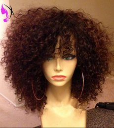 Discount blue african american wigs - Hotselling black  brown Short loose Curly Wig for Women African American Wigs Synthetic lace front wig with bangs Heat R