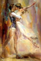 Painting ballet dances online shopping - High Quality Razumovskaya Man woman Dancing kiss Ballet Handmade Portrait Art Oil Painting On Canvas For Wall Decor Multi Sizes Frame