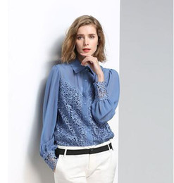 long sleeved lace shirt Canada - Fashion Office Lady Women Blouses Long Sleeved Lace Sexy See-through Female Shirts Women's Tops Brand Chiffon Blusas Spring New