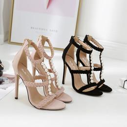 0e7b93be8 Zapatos de mujer Zapatos de tacón alto Marca 2018 Verano Nuevo tipo de  tejido de perla prudente Tipo T Traen sandalias de color caqui negro de  mujer Código ...