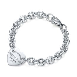 Wholesale High Quality Celebrity design Silverware bracelet Women Letter Heart shaped Bracelets Jewelry With Box