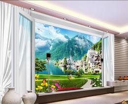 $enCountryForm.capitalKeyWord Australia - 3d stereoscopic wallpaper Small Town Spring 3D Window Curtains Butterfly Chrysanthemum TV background wall