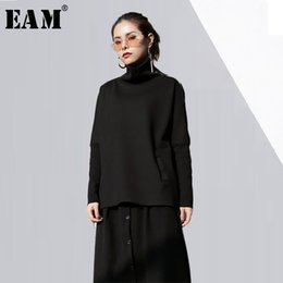Wholesale EAM New Autumn Winter High Collar Solid Color Black Knitting Zipper Split Joint Loose T shirt Women Fashion JD98201