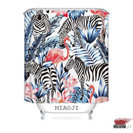 eco friendly shower 2019 - [MIAOJI] Pink Flamingo Tropical Jungle Hawaii Summer Plants Fabric Shower Curtain Bathroom decor various sizes Free Ship