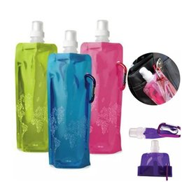 sports ice bag 2018 - Useful 480ml Portable Foldable Water Bottle Ice Bag Running Outdoor Sport Camping Hiking Random Color Free Shipping disc