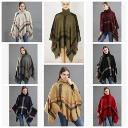 cardigan scarf fashion 2019 - 12styles Plaid Poncho Tassel Shawl Knitted Coat Women winter warm Tartan Sweater Wrap Fashion Cardigan Cloak Vintage Bla