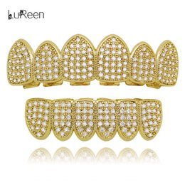 Silver Grillz NZ - LuReen Gold Silver Iced Out Micro Pave CZ Grillz Set 6 Teeth Top and Bottom Grillz Set