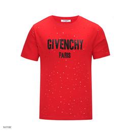 holes shirts 2019 - Mens Designer T shirt Mens Shirt T Shirts Men and Women Short Sleeve Hole Shirt Letter Printed Crew Neck Tops Tees cheap