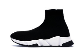 Pvc sneakers online shopping - 2019 Designer Sneakers Speed Trainer Runner Black Red Top Quality Triple Black Fashion Flat Socks Boots Casual Shoes Size