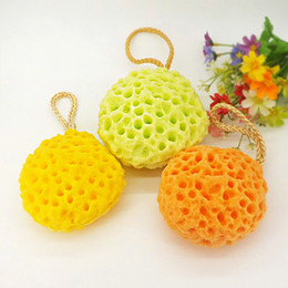 Wholesale 3 Colors Honeycomb Sponge Shower Cleansing ball hydrophilic Discharge Makeup Increase foam Puff Washing large shower for bubble sponge