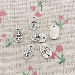 $enCountryForm.capitalKeyWord Australia - 163pcs Charms fleur de lis tag 14*8mm Tibetan Silver Vintage Pendants For Jewelry Making DIY Bracelet Necklace