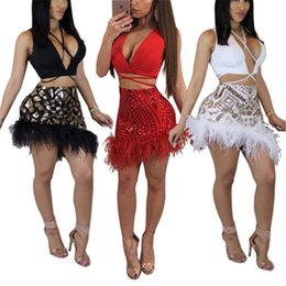 Sequin Knit Top NZ - 2018 Sexy Sequin Feather Women Two Piece Set real ostrich hair hem Hollow out knitting Nightclub Outfit Camisole Tops Skirts Suit SW2-8