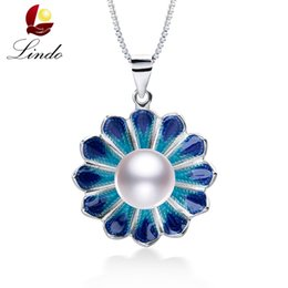 $enCountryForm.capitalKeyWord NZ - High Luster Natural Pearl Necklace Women Fashion 925 Sterling Silver Flower Pendant Fine Cloisonne Jewelry Freshwater PearlY1882701