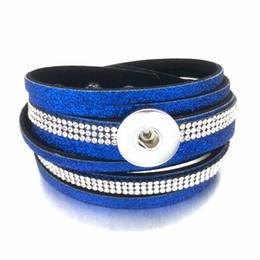Spring Women Velvet NZ - Hot Bling Bling Multi-turn 312 Rhinestones Korean velvet 18mm Snap Button Jewelry Charm Bracelet For Women Teenagers Gift 39cm
