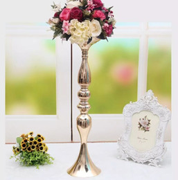 "holder stick UK - 3 colors! Free shipping 50cm 20"" metal candle holder candle stick wedding centerpiece event road lead flower stands rack vase"