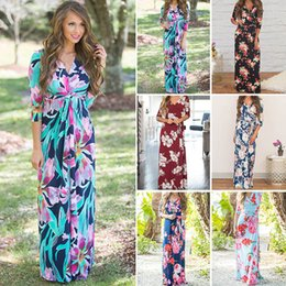 e2f16cf59d8f Floral Print Women Beach Dress Maxi Boho Long Bohemia Dresses Floor Length  V-Neck Lady s Holiday Dresses Summer Casual Dress for women girls
