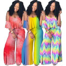 Nueva ropa de mujer de dos piezas conjuntos con cuello en V sling gradiente tie-tye shirt camisa ropa africana 2 unidades traje de volantes pantalones ropa de diseño de las mujeres
