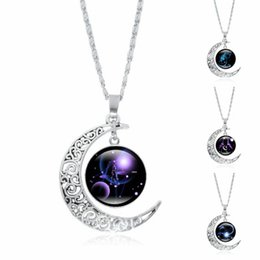 Moon Models UK - Wish fashion explosion models ladies 12 constellation time gemstone necklace beautiful silver moon pendant necklace jewelry wholesale