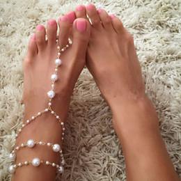 Commercio all'ingrosso 12pcs / lot fascino vintage sandali a piedi nudi sandali perla multistrato cavigliera per le donne da sposa piede spiaggia gioielli catena del piede