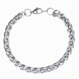 $enCountryForm.capitalKeyWord UK - 6mm Twisted Chain Bracelets Silver Color 19 20 21cm length stainless steel bracelet for women men Fasahion hiphop jewelry wholesale