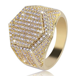 Chinese  Hip Hop Geometric Hexagon Ring Copper Gold Silver Color Plated Iced Out Micro Pave Cubic Zircon Charm Ring for Men manufacturers
