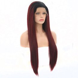 red ombre hair for black women NZ - Long Straight Black To Wine Red Ombre Heat Resistant Full Density Glueless Synthetic Lace Front Wigs For White Women