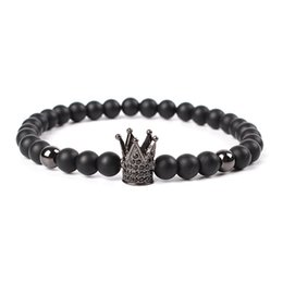 ceramic hot plate UK - Hot Sale Trendy Imperial Crown Charm Bracelets Men Natural Stone Stone Beads For Women Men Jewelry
