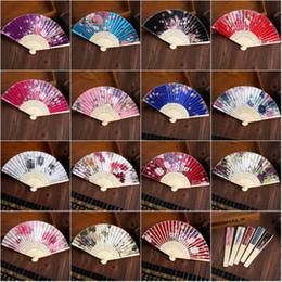 $enCountryForm.capitalKeyWord NZ - Portable Flower Silk Folding Hand Fan 100 pcs Wedding Favour Fan Bamboo Craft Japanese style Ladies Fans Wholesale