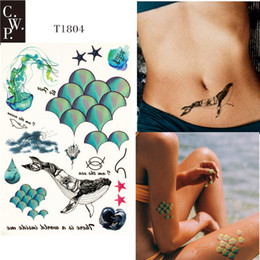 temporary body painting Australia - T1804 1 Piece Mermaid Sea Temporary Tattoo with Scale, Sea Star, Whale, Jellyfish, and Water Drop Pattern body paint Tattoos