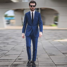 best male suits NZ - 2018 Navy Blue Wedding Suits for Men Slim Fit Best Men Groom Tuxedos 2 Piece Gentle Male Blazers Jacket Classic Groosmen Suits