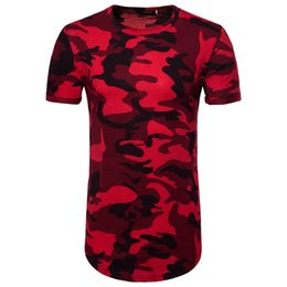 Wholesale mens camouflage t shirts for sale – custom Streetwear Hip Hop T Shirts Camouflage Printed Top Tees Casual Shirts Cotton Long Style Mens T Shirt Man Clothes HipHop Shirts FreeShipping