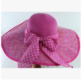 Sun hatS big brimS online shopping - Big Brim Summer Cap Women Sun Screen Straw Hat Foldable Huge Eaves Outdoor Beach Caps With Bowknot Women yw jj