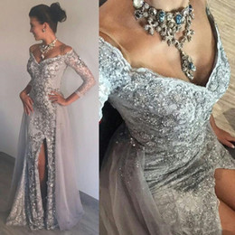 Stunning Luxurious Silver Evening Gowns Heavy Beading Sequins V-Neck 3 4 Sleeves Mermaid Prom Dresses Sexy Side Split Lace Evening Dresses