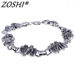 Bangle Silver Dragon Australia - ZOSHI Men Bracelet Silver Stainless Steel Bracelets & Bangles Male Accessory Charms Punk Dragon Hip Hop Party Rock Jewelry