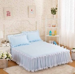 Queen size princess bedding online shopping - Snow White Lace Bed Skirt Pillow Cases Wedding Princess Bedspread Bed Sheet for Gifts King Queen Full Size