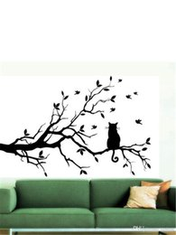 tree branch vinyl wall art 2018 - Wholesale Cat On Long Tree Branch DIY Vinyl Wall Sticker Decals Wall Art Mural Home Decor Window Kitchen Wallpaper disco