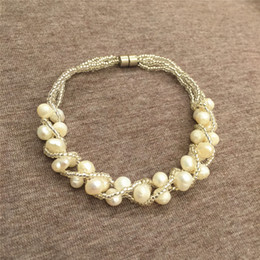 Fresh Water Pearl Charms NZ - Whosale New Natural Fresh Water Grape Rice Pearl crystal Fashion Style Bracelets Strands Women Jewelry Hot Gift Cheap
