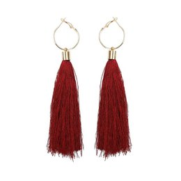 asian style tassels NZ - Ethnic Style Alloy Earring 10 Colors For Choice Tassel Earrings Fringed Eardrop With Large Ear Ring For Women Party Jewelry Accessories