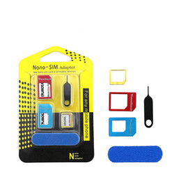 $enCountryForm.capitalKeyWord Australia - 5 in 1 Metal Sim Adaptor Kit Nano to Micro standard SIM Card Adapter With retail package iphone 6 4 5 OTH491