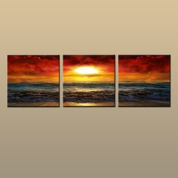 Contemporary Frames Canvas Prints Australia - Framed Unframed Hot Modern Contemporary Canvas Wall Art Print Painting Beach Sunset Seascape Picture 3 piece Living Room Home Decor ABC227