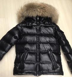 Design Women Hooded Coat Canada - Women Maya Coats Zipper Winter Brand Design Black White Goose Down Jackets with Real Raccoon Fur Hooded Ladies Outwear High Quality Sale