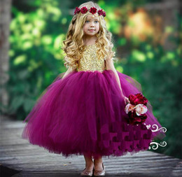 prom beauty pageant dresses 2020 - 2019 Beauty Gold And Purple Ball Gown Girls Pageant Dresses Sparkly Sequined Tulle Puffy Todder Little Child Party Prom