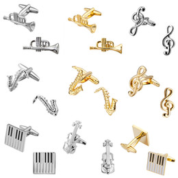 Wholesale Fashion Music Series Of Musical Instruments Musicians Of Sax Piano Violin Cufflinks Brand Jewelry Men Shirt Cuff Cufflinks pairs
