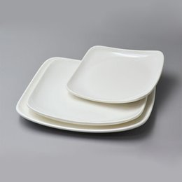 Melamine Dish Dinner Plate Square Dish Japan Style Flat Plate Porcelain White Thickening A5 Melamine Tableware ZA6433 & Square Dinner Plates Online Shopping | Wholesale Square Dinner ...
