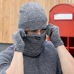 03ad408bab9c5 Wholesale Winter Hat Scarf Sets Canada - Nibesser 3pcs Knitted Hat Gloves Scarf  Set For Men