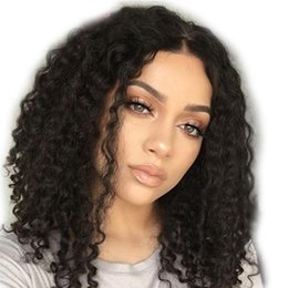 Kinky Peruvian Lace Wig Australia - Lace Front Human Hair Wigs Peruvian Virgin Hair Kinky Curly For Black Women Full Lace Wig With Baby Hair Natural Hairline Bleached Knots