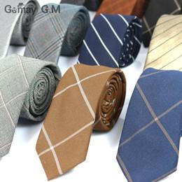 $enCountryForm.capitalKeyWord Canada - High Quality Fashion 100% Cotton ties for men Custom made Brand Plaid Skinny Narrow Mens neckties For gift Neck Tie Cravat