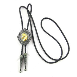 $enCountryForm.capitalKeyWord NZ - 5 PCS Wholesale lots High quality black leather bolo tie with gold horse Metal buckle adjustable Cowboy male accessories